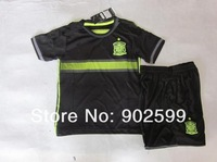 Customize 14/15 spain away black thai quality kids soccer football jersey+shorts kits, children soccer Uniforms