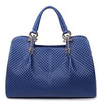Free Shipping (Enchanting Blue )  two side different  design style  Genuine Leather Tote Bag  Shoulder Bag Handbag