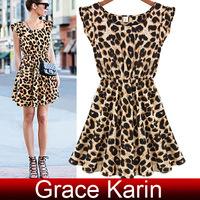 Free Shipping GK Occident Ladies Causal Leopard Pattern Sleeveless Mini Dress 4 Size XS~L CL5508