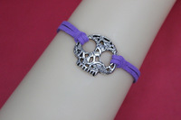 Silver skull head ,skull bracelet,purple wax rope ,friendship bracelet,best gift for friend