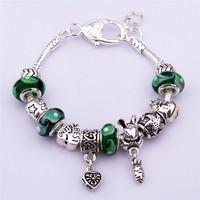 PA1289 Free Shipping 2014 New Charm Beads Bracelet Bracelets&Bangles Chamilia Bracelet 925 Tibetan Silver Murano Glass For Women
