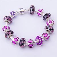 PA1319 2014 New Free Shipping Charm Beads Bracelet Bracelets&Bangles Chamilia Bracelet 925 Tibetan Silver Murano Glass For Women