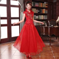 2014 New Arrivals Summer Red Bridesmaid Wedding Evening Dresses Slim Improved Fashion Cheongsam Short Sleeve From Wendy