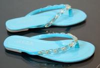 2014 women's new summer flip-flop slippers beaded flip flops slippers female blingbling shoes for girls beach flat Free shipping