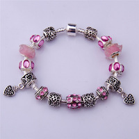 PA1393 Chamilia Bracelet 2014 New Free Shipping Charm Beads Bracelet Bracelets&Bangles 925 Tibetan Silver Murano Glass For Women