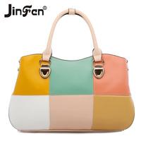 2014 women's tote handbag fashion color block patchwork messenger bag
