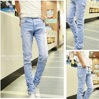 2014 summer slim Sky Blue hole jeans teenage male long trousers