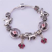 PA1273 2014 New Free Shipping Charm Beads Bracelet Bracelets&Bangles Chamilia Bracelet 925 Tibetan Silver Murano Glass For Women