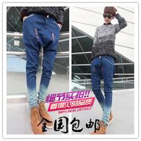 Harem pants male jeans pants strap gradient pumping skinny pants