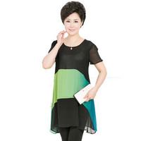 2014 New Summer Dresses For Women 40~50 Years Old Fashion Big Chiffon One-piece Dress XL,XXL,XXXL,XXXXL