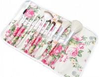 12pcs Women Pro Cosmetic Floral Soft Makeup Brushes Eyeshadow Lip Case Bag Brush