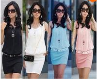 CHEAPEST!!! Summer Women's Mini Dress Crew Neck Chiffon & cotton Sleeveless Causal Tunic Sundress 4 colors 4 Sizes