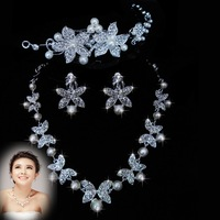 The bride accessories pearl hair accessory necklace earrings piece set marriage jewelry set accessories