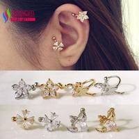 2014 fashion women elegant gold silver copper flower fairy wings sparkled zircon stone no pierced clip earrings earcuffs bijoux