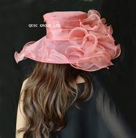Heather pink Wide brim Fashion crystal organza hat church bridal hat for kentucky derby weddding races.