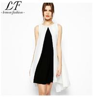 2014 New Women Summer Dress Black and White Patchwork Chiffon Dress Sleeveless Loose Style XS-XXL