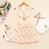 2014 new fashion summer gauze mesh lace novelty dresses embroidered flower one-piece dress sleeveless tank sundress vestidos