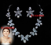 The bride accessories pearl necklace rhinestone accessories wedding jewellery
