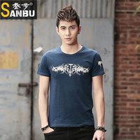 2014 spring and summer short-sleeve T-shirt male slim fashion o-neck t-shirt tights print basic shirt