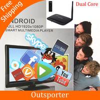 1080P HD Media Player Mini Google Android4.1 OS Mini PC/TV Box with Dual Core RK3066 Cortex-A9 CPU (Black)