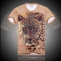 Summer 2014 men's clothing personalized 3dt three-dimensional animal basic shirt o-neck short-sleeve T-shirt male