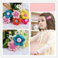 2014 New Kids/Girl/Princess/Baby flower Hair clips/ button Hair Pins,nice two flowers children hair accessories G68