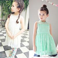 Angou 2014 new fashion korean children clothing beautiful white and green girls lace dress,baby princess dress kids clothes