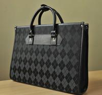 High-end Man Boutique Brand Polyester Plaid Briefcases In Shoulder Bag Fashion Zipper Dress Bussiness Handbag Lattice Black Bag
