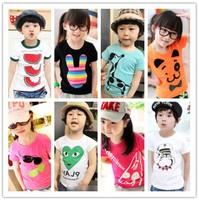 New 2014 children's t-shirt cartoon clothing short sleeve sport t-shirts 100% Cotton,5size , 15 different designs, optional