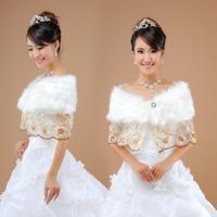 The bride married cape fur shawl champagne color laciness fur shawl cheongsam cape mpj009