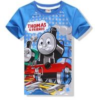 Free shipping 2014new fashion boys girls clothes Popular thomas cartoon child t-shirt summer child male short-sleeve T