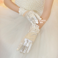 The bride wedding dress formal dress yarn gloves bridal gloves wedding gloves short design white yarn gloves
