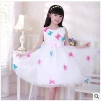 New 2014 Summer kids Girl Ball Gown Dress Girl Colorful Bow Princess Flower Girl Dress Baby Sleeveless Knee-length White Dress