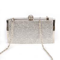 Silver Sparkly Diamante Crystal Bridal Evening Clutch Bag Party Box