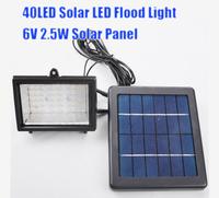 Free Shipping 40LED Solar Lamps Flood Light 6V 2.5W Solar Panel, Light Control Auto On/Off Solar Lamp Garden, Free Shipping