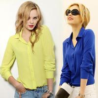 2014 summer new long-sleeve shirt female chiffon  women's shirt white slim small fresh