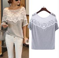 CHEAPEST!!!2014 Sweet Hollow Out Lace Cutout Shirt Women Handmade Crochet Cape Collar Batwing Sleeve Tops T shirt Lady's Tee