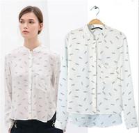 New Fashion Ladies' elegant glasses print white blouses stand collar long sleeve Shirt casual slim brand designer tops