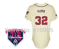 Baseball Atlanta 32 Gavin Floyd Authentic Alternate Cool Base Jersey wHank Aaron 715th HR 40th Anniversary Patch Free Shipping