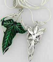 [Free Style] 1x Set LOTR Elven Leaf breastpin Arwen Evenstar Pendants Necklace For Women Girl 2014 New