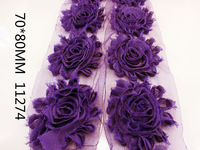 5Y11274 free shipping 70*80mm shabby chiffon rose flower shair accessories 5pcs/lot picture color