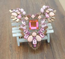 2015 Hot brand z necklace fashion party chunky luxury choker statement necklace Transparent flower Necklaces Pendants