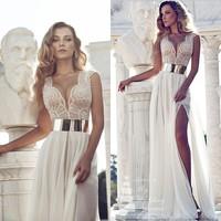 2015 Free Shipping Chiffon Floor Length Side Slit Fashion New Dedign Gold Belt OEM Long Deep V-Neck Lace Sexy Evening Dresses