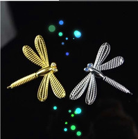Free shipping cartoon dragonfly metal 3D stereo car stickers personalized car stickers cute body modification...