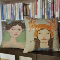 2PCS Creative Printed Square Cushion Pillowcase Nest Girl Seat Cushion Cover Pillow Decorate Pillow Case Home Bedding Car Sofa