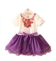 2014 New Summer Kids Girls Dress Children Fashion Flower Gauze tutu Dress GQ-370