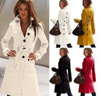Sobretudo 2014 New Casacos Femininos American Multi-color AfteCut Open Waist Windbreaker Jacket Slim Wool Coat J3074