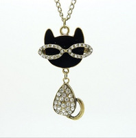 Popular Women Jewelry  Rhinestone Necklace Pendants Cat Crystal Necklace Sweater Chain Necklaces GL-062