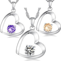Korean Fashion White Gold rhinestone Jewelry Heart Pendant Necklace Austrian Crystal Necklaces Pendant GL-035