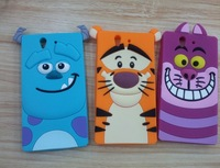 Cute 3D Cartoon Tiger  Sulley Dog Cheshire Marie Cat Silicone Case Back Cover For Sony Xperia Z L36H Free shipping